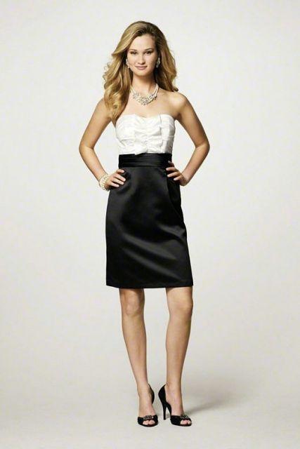 vestido tomara que caia preto e branco