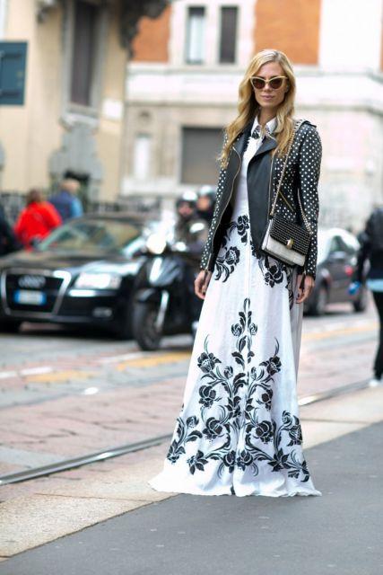 look inverno com vestido floral