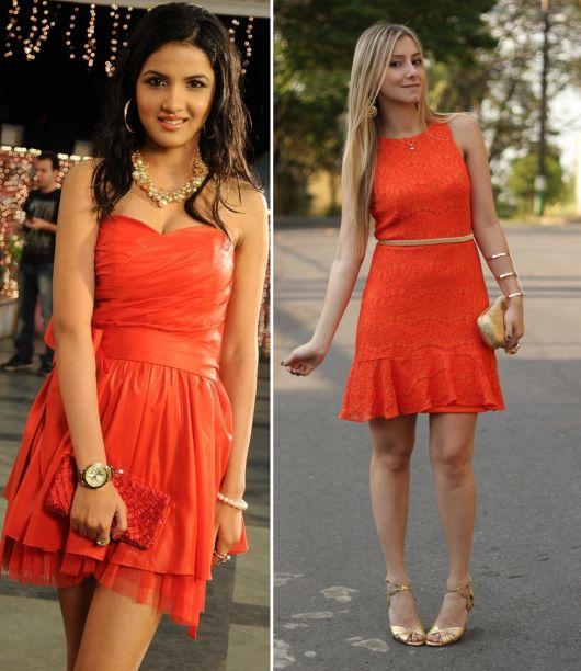 Vestido de renda laranja que sapato usar