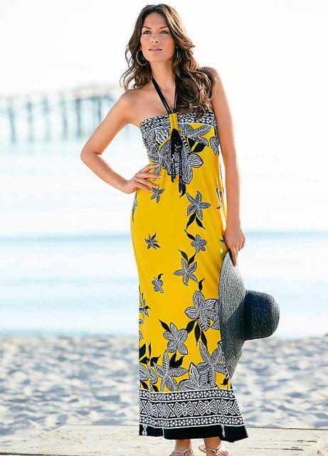 vestido floral longo para look praia