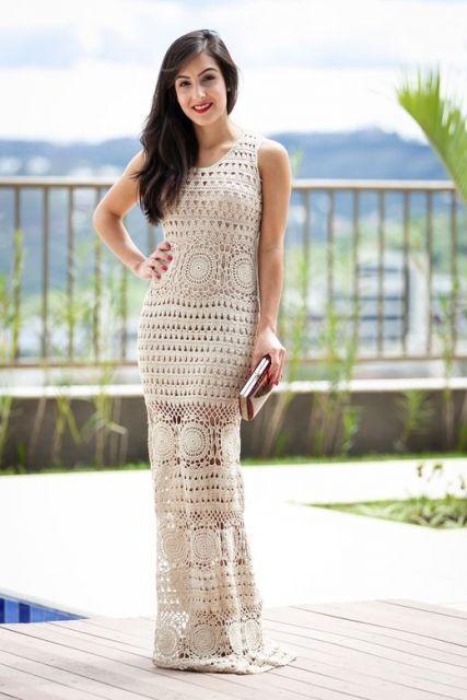 vestido longo para baixinha de tricot