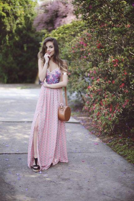 vestido longo para baixinha floral