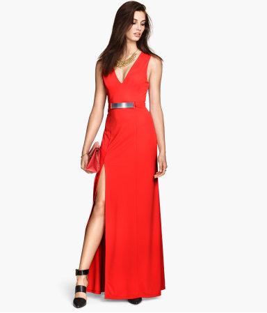 vestido de formatura vermelho com fenda