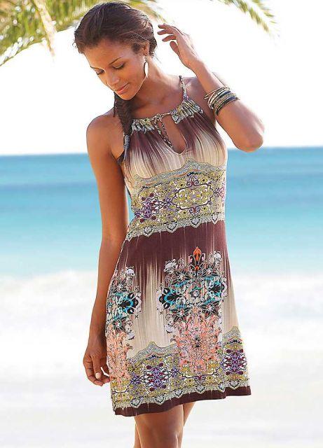look praia vestido estilo indiano