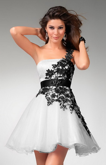 vestido curto para casamento preto e branco