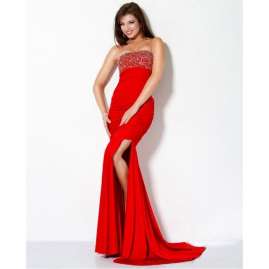 vestido para formatura vermelho longo