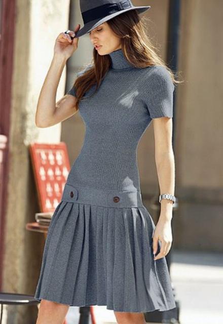 Vestido de tricô com saia rodada