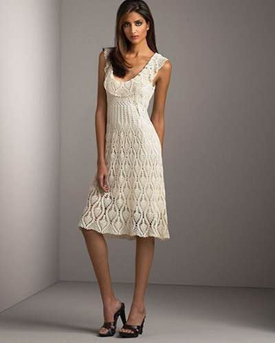 Vestido de tricô branco