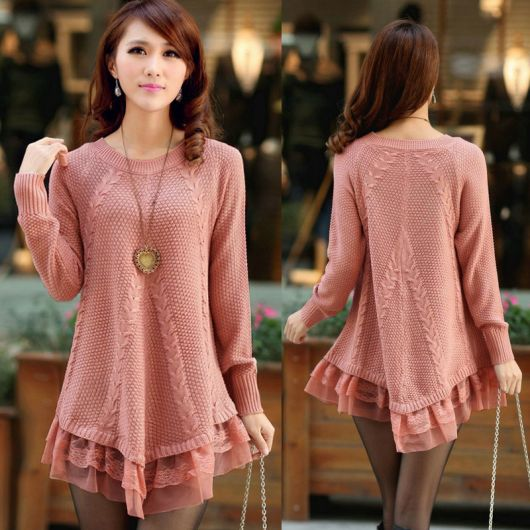 Vestido de tricô rosê com babados