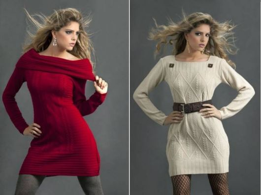 Vestidos de tricô vermelho e creme