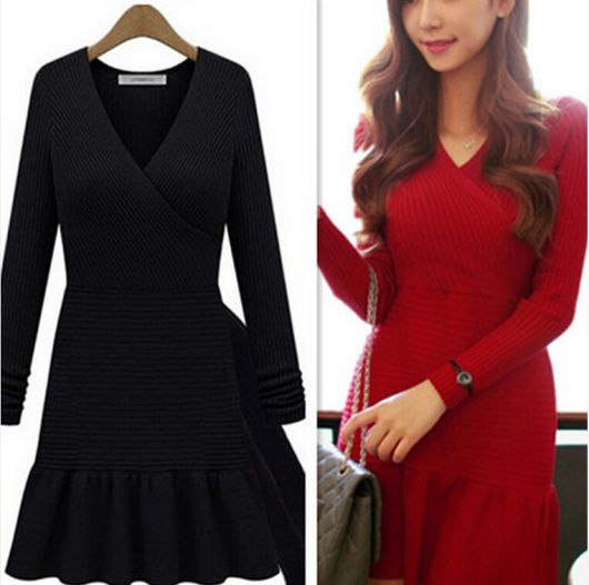 Vestido de trico preto e vermelho