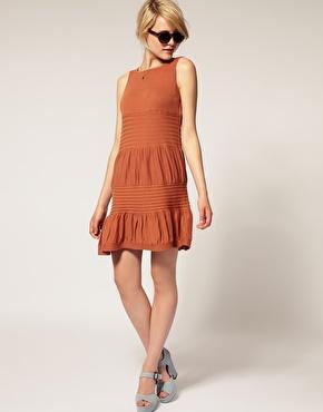 Vestido de tricô curto laranja