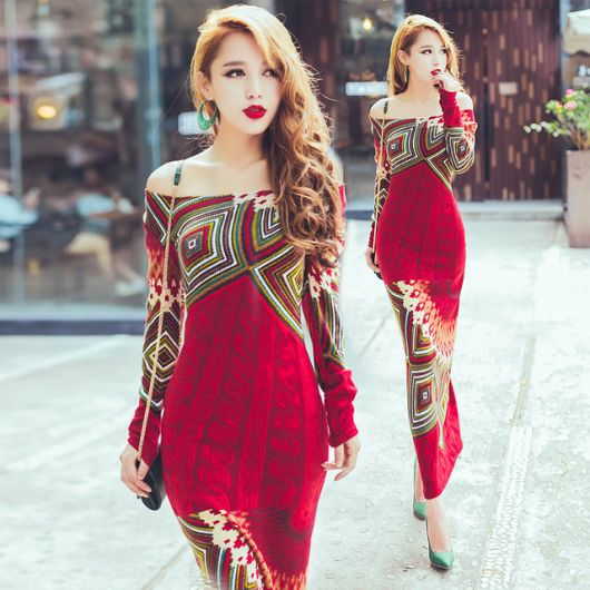Vestido de tricô colorido