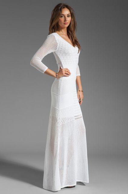 Vestido de tricô branco longo