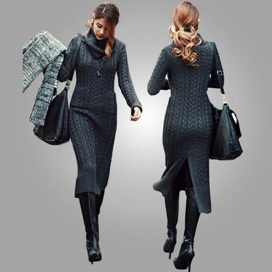 vestido de tricô longo chumbo