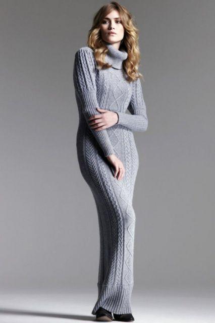 Vestido de tricô cinza com gola alta