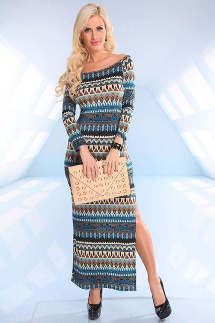 Vestido de tricô longo estampado