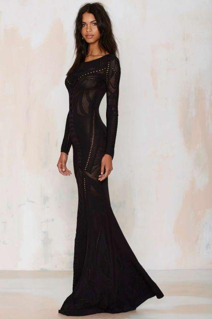 vestido de tricô preto transparente