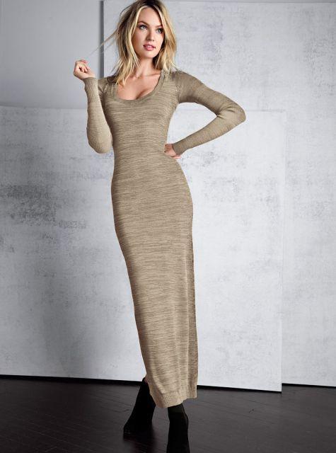Vestido de tricô longo básico