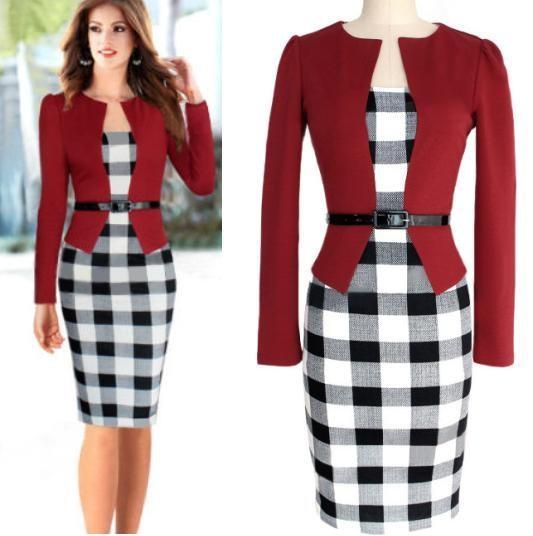 terno vermelho com vestidos para trabalhar