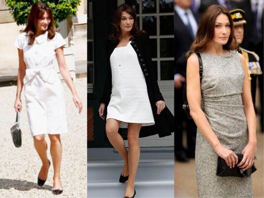 Carla Bruni vestindo 3 modelos super elegantes de vestido esporte fino em cores neutras
