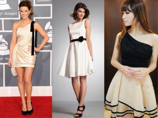 3 modelos de vestido esporte fino em preto, branco e off-white, com um pouco mais de glamour