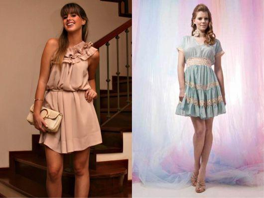 Modelos românticos de vestido esporte fino: rosa com babados e bolsa clara. Vestido azul bebê com rendas.