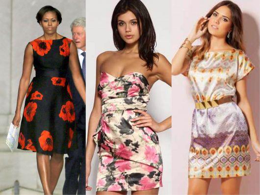 Escolha entre lindos modelos de vestido esporte fino: flores e estampa geométrica. Michelle Obama arrasa no preto com vermelho.