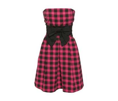 Vestido esporte fino xadrez com laço preto na cintura