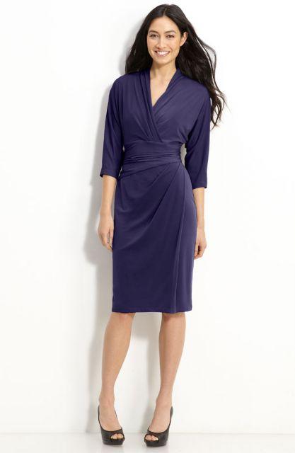 vestido para trabalho azul transpassado