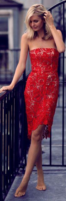 vestido vermelho joelho