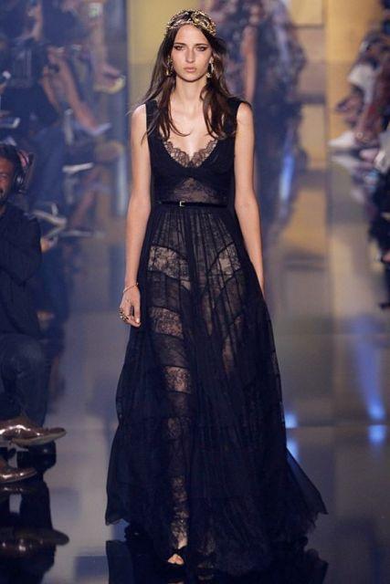 vestido preto e transparente