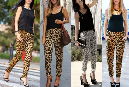 combinações de calça de onça skinny com blusas pretas
