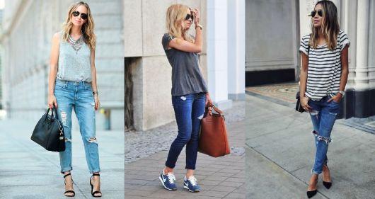 Estilo casual calça jeans destroyed