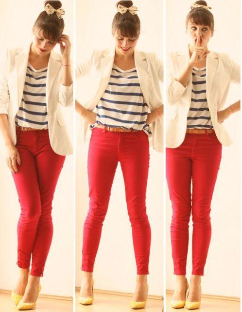 Estilo casual calça vermelha