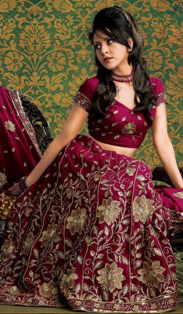 vestido indiano bordô - choli e saia