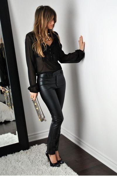 Look preto calça de couro
