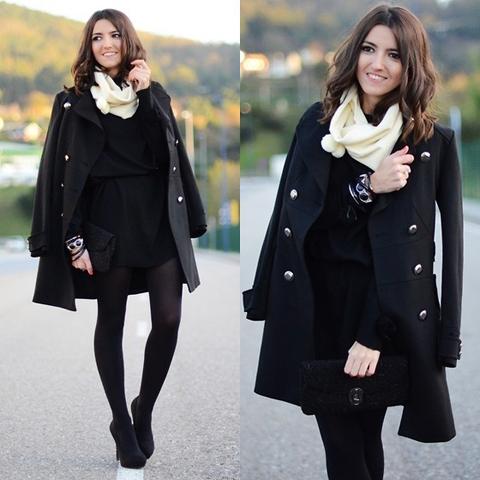 Look preto casacão