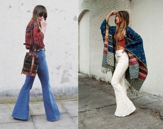 Moda hippie calça flare