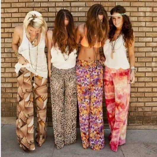 Moda hippie calças tecido mole