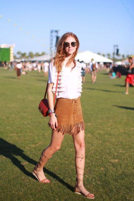 Moda hippie saia franjas