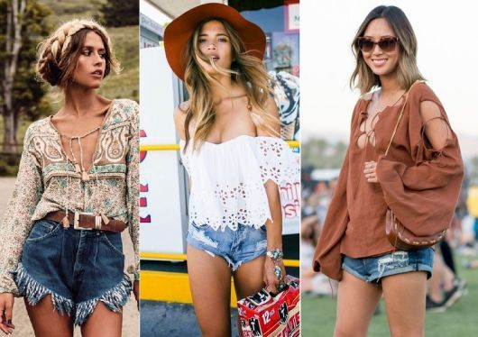 Moda hippie short jeans