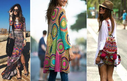 Moda hippie tecido colorido
