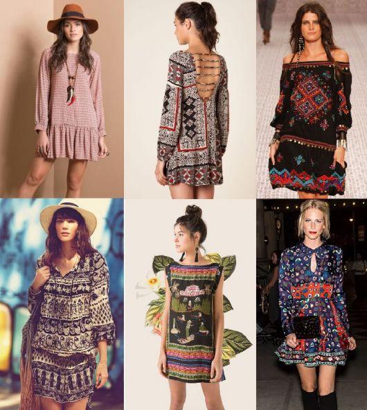 Moda hippie vestidos soltinhos
