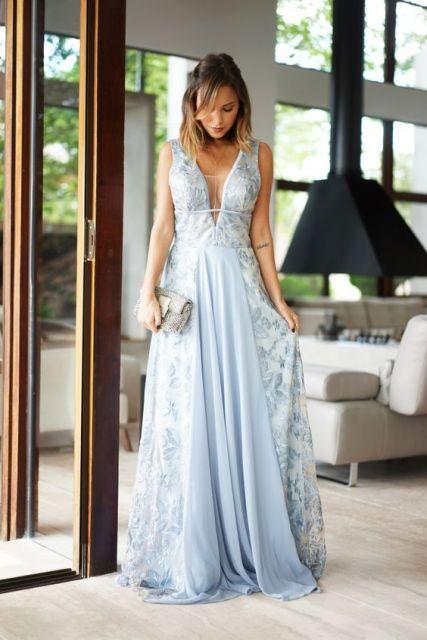 Vestidos de gala azul claro