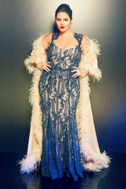 Vestidos de gala azul plus size