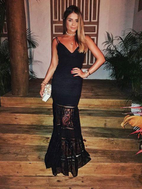 Vestidos de gala preto com renda