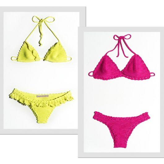 biquíni neon amarelo e pink