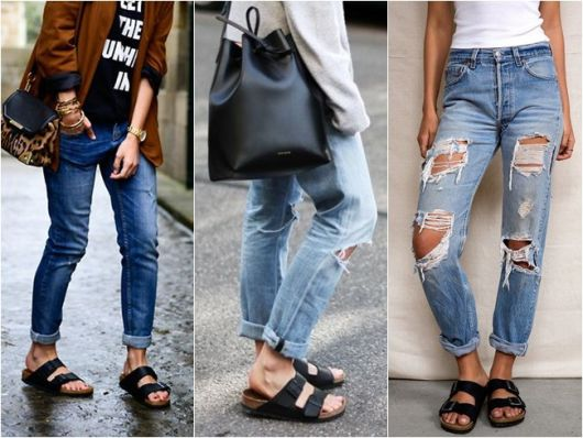 3 looks com birken e jeans