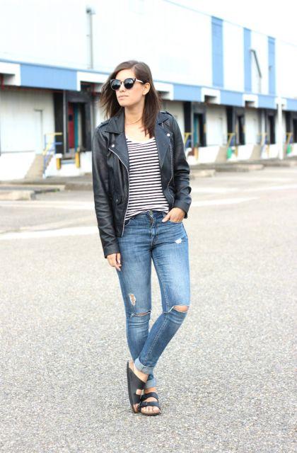 birken e jeans e jaqueta